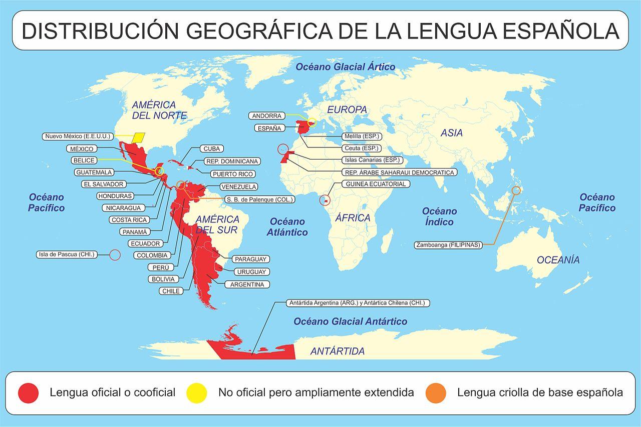 Distribución geográfica de la lengua española en cada continente. Vía Wikimedia Commons.