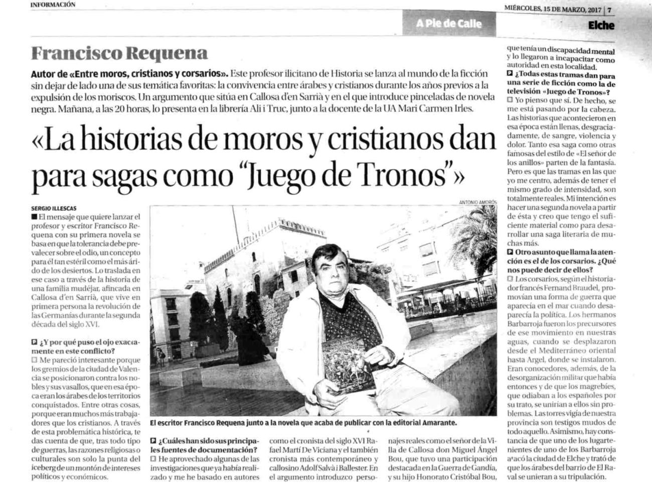 Francisco Requena Amoraga entrevista en Diario La Informacion